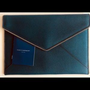 💯Rebecca Minkoff Grecian blue leather  Leo clutch